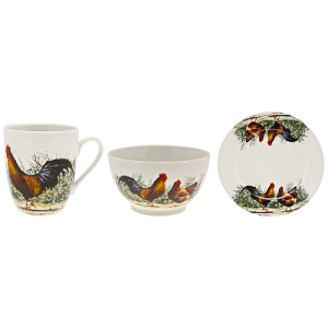 Macneil Cockerel and Hen Fine China Snack Set