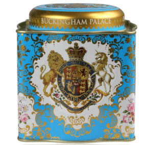 Buckingham Palace Coat of Arms Black Tea Caddy 50 Teabags