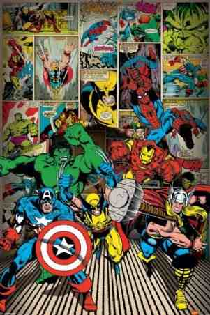Children's Maxi Poster featuring The Superheroes of Classic Marvel Comics Including Spiderman, Thor, Captain America, The Hulk, Wolverine and Iron Man 61x91.5cm.jpg