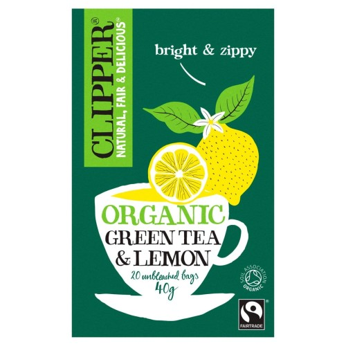 Clipper Organic Fairtrade Green Tea Bags with Lemon 20 per pack.jpg