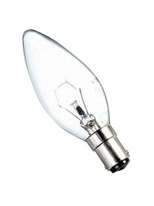 Clear Candle Shape Small Bayonet B15 25W Light Bulb.jpg