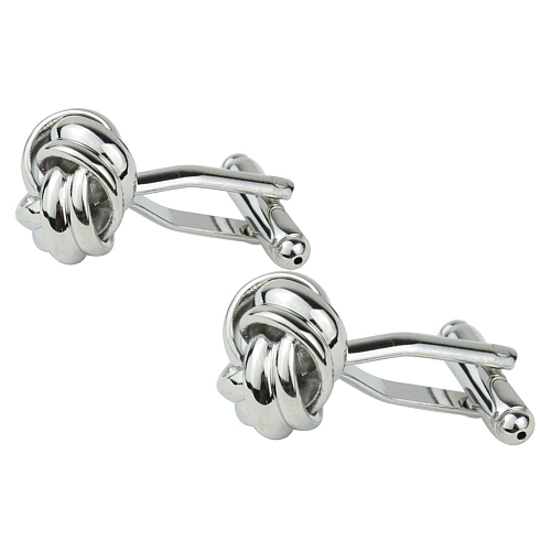 Shiny Stainless Steel Rhodium-Plated Love Knot Cufflinks.png