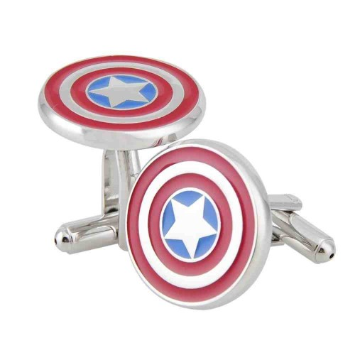 Rhodium Plated Captain America Cufflinks Marvel Comics Formal Wear.jpg