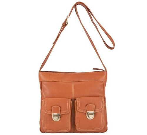 John Lewis Front Pocket Detail Crossbody Bag, Tan 2.jpg