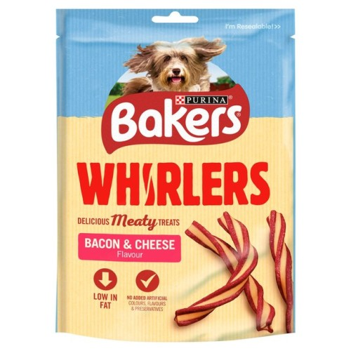 Bakers Whirlers Dog Treat Bacon & Cheese 175g.jpg