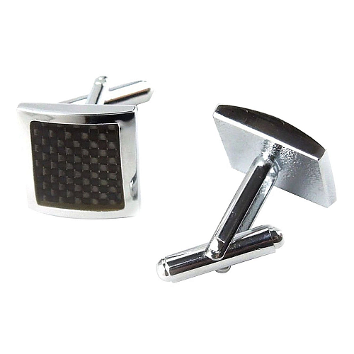 Classic Steel-Plated Brass Carbon-Fiber Cufflinks with Black Enamel.png
