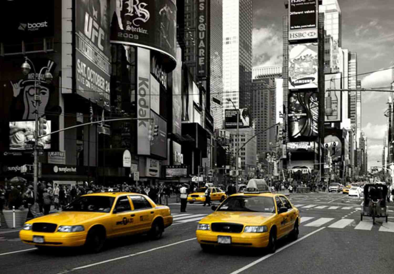 Yellow cabs at times square photo wallpaper 368cm x 254cm for La livraison de nyc ikea